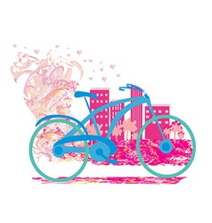 Cute card with bike vector