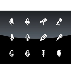 Microphone icons on black background vector
