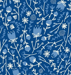 Field flowers doodle pattern 4 vector