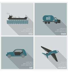 Icons land air and water transport vector