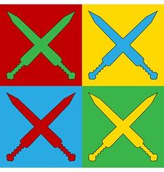 Pop art crossed gladius swords icons vector