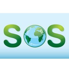 Sos with globe vector