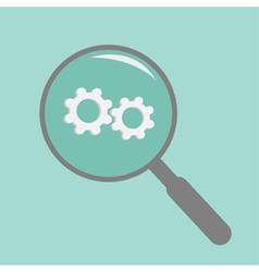 Magnifier and wheel flat design style vector