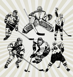 Hockey players vector