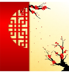 Chinese new year cherry blossom greeting card vector