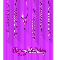 Happy birthday background with gold streamers vector