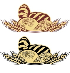 Wheat bread in two colors vector