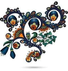 Flower pattern engraving scroll motif for vintage vector