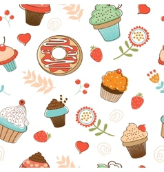 Colorful seamless desserts pattern vector