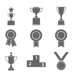 Set of award success and victory icons with vector