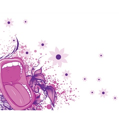 Screaming mouth with floral background and splash vector
