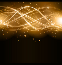 Abstract golden wave pattern with stars vector