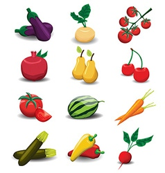 Fruits and vegetables collection vector