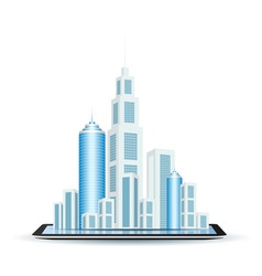 Business city on tablet computer vector