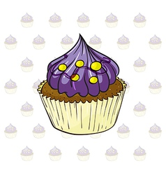 A cup cake with violet icing vector