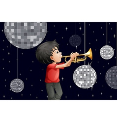 A musician surrounded with disco balls vector