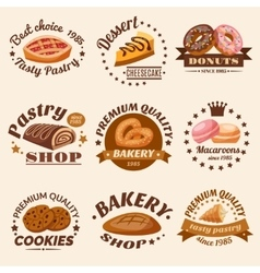 Pastry emblems set vector
