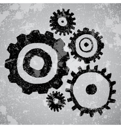 Abstract grunge background with gears vector