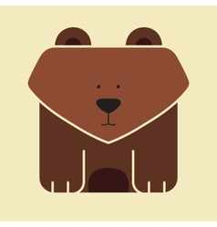 Flat square icon of a cute bear vector