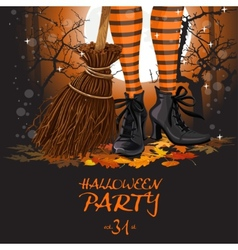 Halloween party poster with witch legs in boots vector