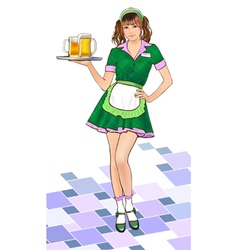 Girl waitress vector