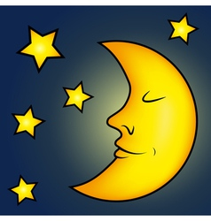 Bright moon and stars vector