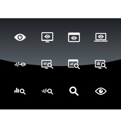 Monitoring icons on black background vector
