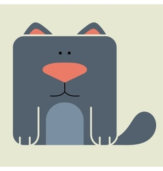 Flat square icon of a cute cat vector