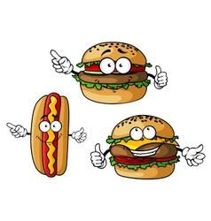 Appetizing hamburgers and hot dog cartoon vector