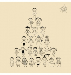 Pyramid with happy big family vector