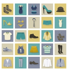 Clothing and shoes flat icons set with shadows vector