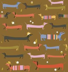 Cute dachshunds seamless print vector