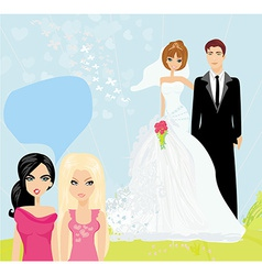 Girls gossiping about the wedding couple vector
