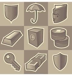 Monochrome security icons vector