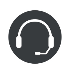 Monochrome round headset icon vector