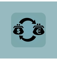 Pale blue dollar-euro exchange icon vector
