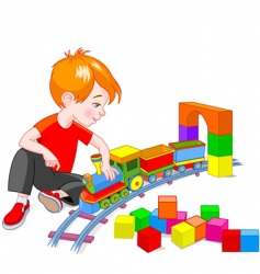 Boy with train set vector