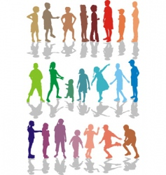 Kids color silhouettes vector