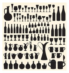 Wineware silhouettes vector