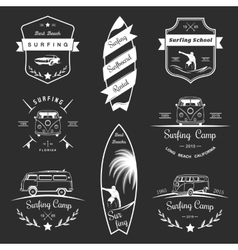 Badges and logos surfing vector