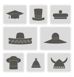 Monochrome icons with different hats vector