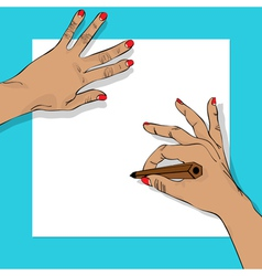 Drawing hands vector