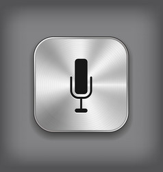 Microphone icon - metal app button vector