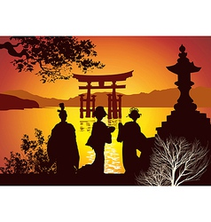 Postcard sights of japan vector