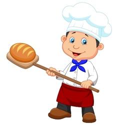 Cartoon a baker with bread vector