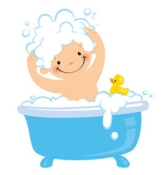 Cartoon boy having bath washing hair vector