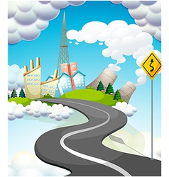 A curve road with a yellow signage vector
