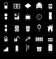 House related icons with reflect on black vector