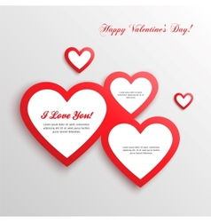 Red hearts valentines day card vector