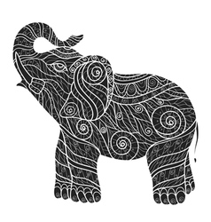 Stylized elephant in a graphic styleblack and whit vector
